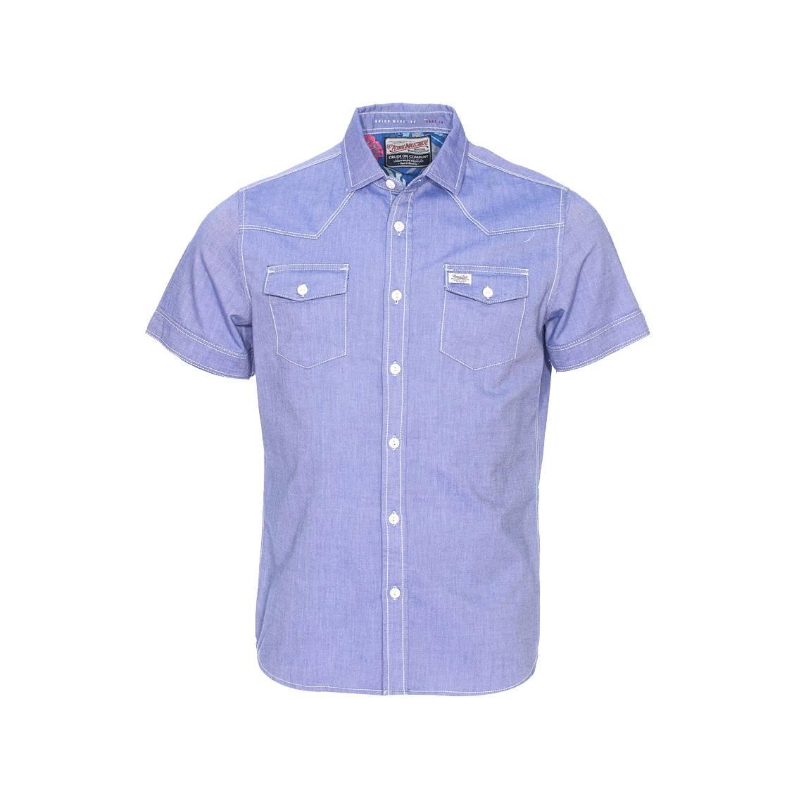 Chemise manches courtes  en coton bleu jean, tissage fil à fil
