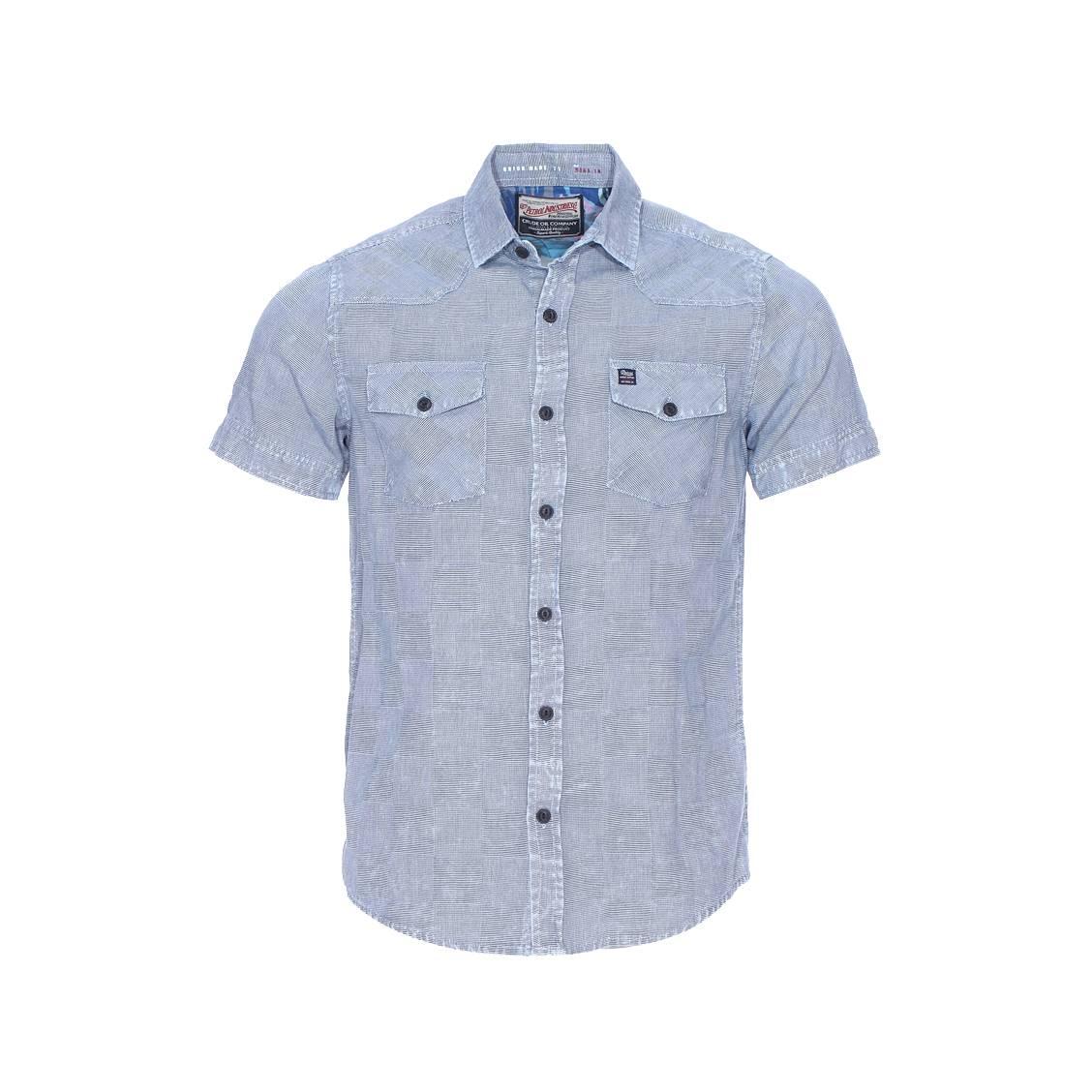 Chemise manches courtes  en coton bleu jean, tissage oxford