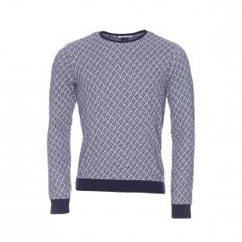 Pull léger Scotch & Soda en coton gris à motifs bleu marine