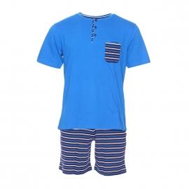 Pyjama court Mariner en coton : tee-shirt col tunisien bleu roi, short bleu marine à rayures bleu roi et blanches