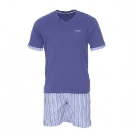 Pyjama court Mariner bi-matière : tee-shirt manches courtes col V bleu lavande, short à rayures