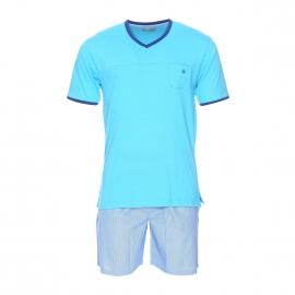 Pyjama court Mariner bi-matière : tee-shirt manches courtes col v bleu turquoise, short à rayures bleues et blanches