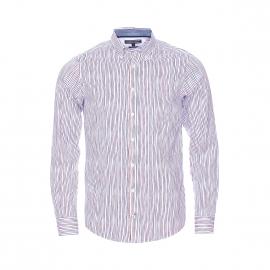 Chemise cintrée Tommy Hilfiger en coton blanc à rayures rouges et bleu marine