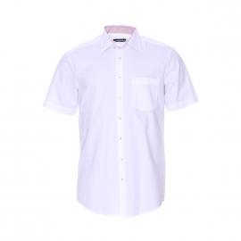 Chemise manches courtes Uno Seidensticker en chambray blanc à opposition