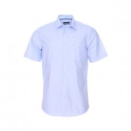 Chemise manches courtes Splendesto Seidensticker en fil à fil bleu ciel Sans repassage