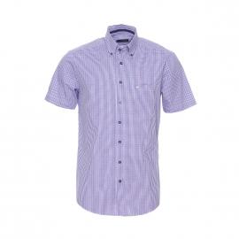 Chemise manches courtes Uno Seidensticker en coton à carreaux lilas, bleus et blancs Sans repassage