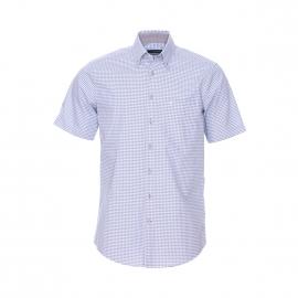 Chemise manches courtes Splendesto Seidensticker en coton à carreaux vichy beiges, bleu ciel et blancs Sans repassage