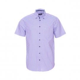 Chemise manches courtes Splendesto Seidensticker en coton à carreaux lilas, blancs et bleus Sans repassage