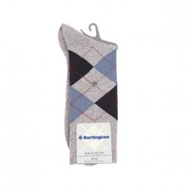 Chaussettes Manchester Burlington en coton mercerisé gris à losanges bleu clair et bleu marine