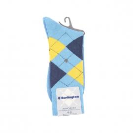 Chaussettes Manchester Burlington en coton mercerisé bleu clair à losanges jaunes et bleu foncé