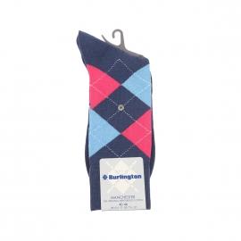 Chaussettes Manchester Burlington en coton mercerisé bleu à losanges bleu ciel et roses