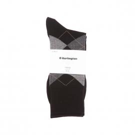 Lot de 2 paires de chaussettes Burlington en coton : 1 modèle noir et 1 modèle noir à losanges gris