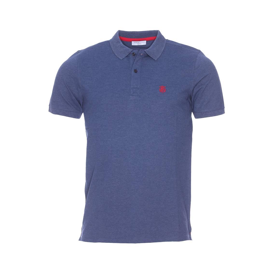 Polo Selected en maille piquée bleu chiné csRid