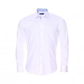 Chemise cintrée Méadrine en coton blanc à opposition vichy, poignets mousquetaires