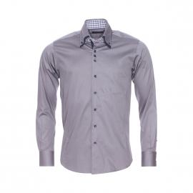 Chemise cintrée Méadrine en coton gris satiné à opposition à carreaux blancs, prune et bleus