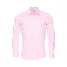 Chemise cintrée Méadrine en coton rose pâle, opposition à carreaux gris et blancs