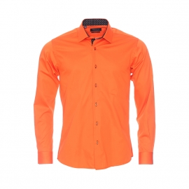 Chemise cintrée Méadrine en coton orange à opposition noire à pois blancs