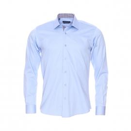 Chemise cintrée Méadrine en coton bleu ciel, opposition à carreaux blancs, prune et bleus
