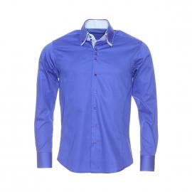 Chemise cintrée Méadrine en coton bleu électrique, opposition blanche à motifs bleu clair