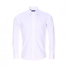Chemise cintrée Méadrine en coton blanc à poignets mousquetaires