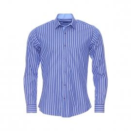Chemise cintrée Méadrine en coton bleu à rayures bleu clair et blanches