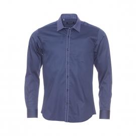 Chemise cintrée Méadrine en coton bleu marine, col à pois bleus et blancs