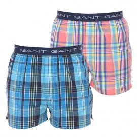 Lot de 2 caleçons Gant en coton : 1 modèle à carreaux bleus, blancs et verts et 1 modèle à carreaux corail, bleus, verts et jaunes