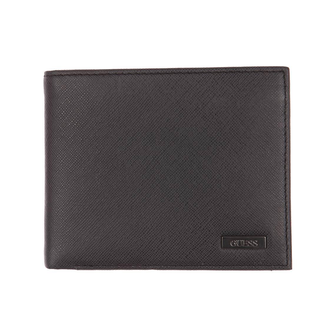 Portefeuille italien 2 volets Guess en cuir grainé noir à porte-monnaie ECIwU2zh