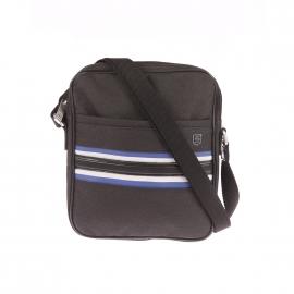Sacoche plate à bandoulière Monza Serge Blanco en tissu noir à bandes bleues et grises