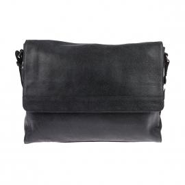 Besace à rabat Arthur&Aston en cuir texturé souple noir