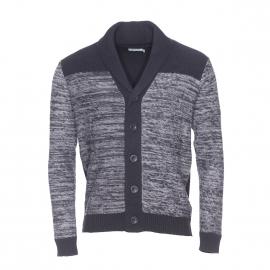 Cardigan boutonné à col châle Best Mountain noir à rayures gris chiné
