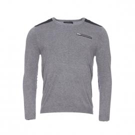 Pull col rond Best Mountain gris chiné à empècements noirs et poche zippée