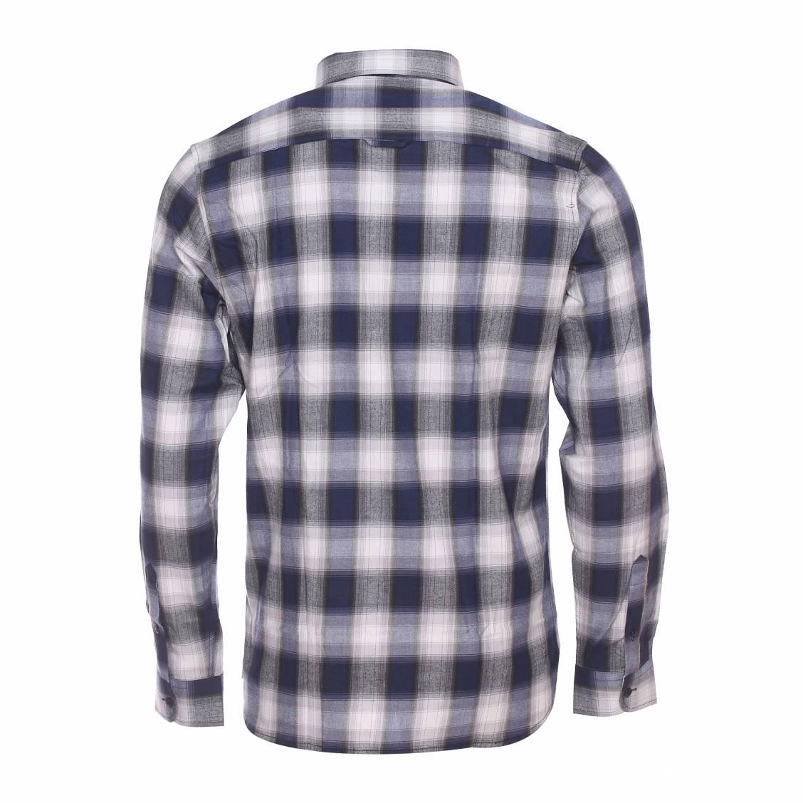 chemise ajust e best mountain en coton carreaux gris noirs et bleu marine rue des hommes. Black Bedroom Furniture Sets. Home Design Ideas