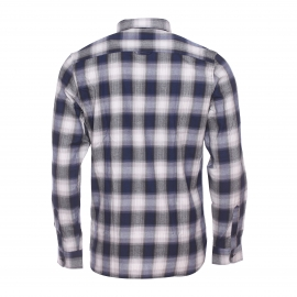 Chemise ajustée Best Mountain en coton à carreaux gris, noirs et bleu marine