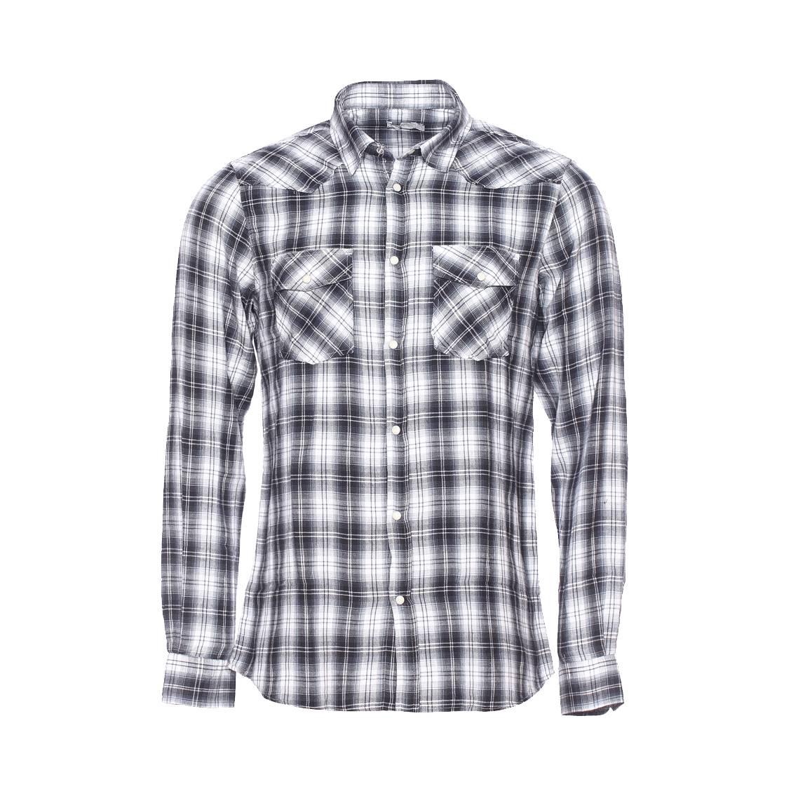 Chemise  en flanelle à petits carreaux gris plomb et blancs