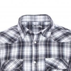 Chemise Best Mountain en flanelle à petits carreaux gris plomb et blancs