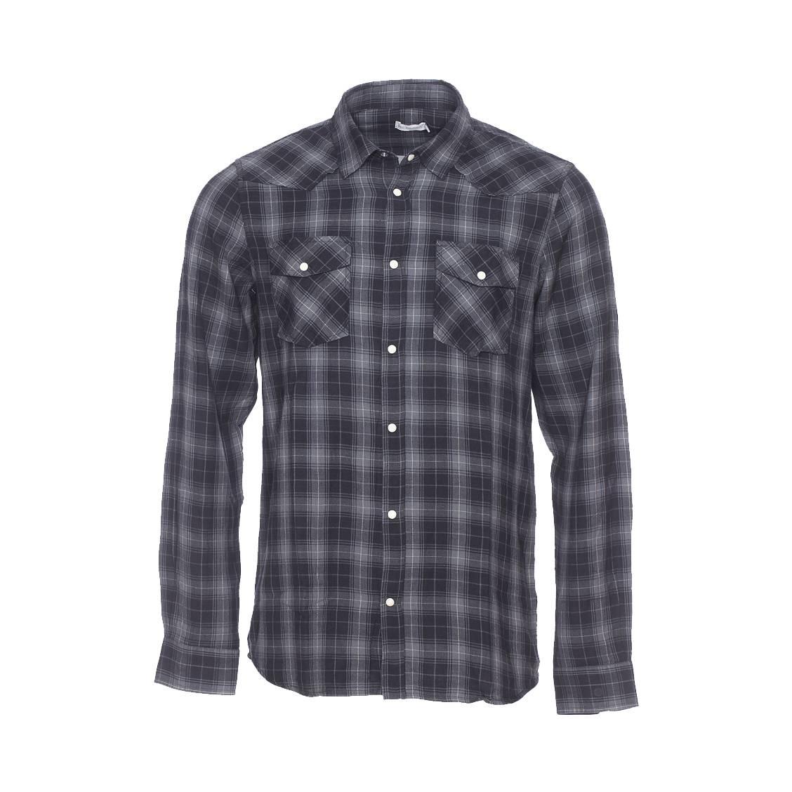 Chemise  en flanelle à petits carreaux gris anthracite et noirs