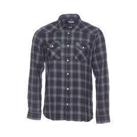 Chemise Best Mountain en flanelle à petits carreaux gris anthracite et noirs