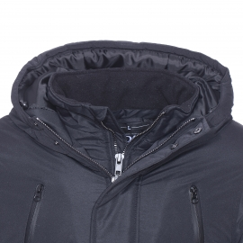 Parka double col à capuche Best Mountain noire