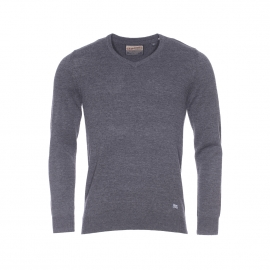 Pull col V Petrol Industries gris anthracite chiné
