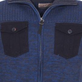 Gilet zippé Petrol Industries en mailles entrelacées bleu électrique et gris anthracite