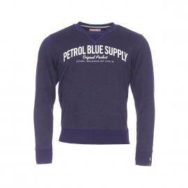 Sweat Petrol Industries en coton et viscose bleu indigo floqué en blanc