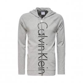 Sweat zippé à capuche Calvin Klein gris chiné floqué