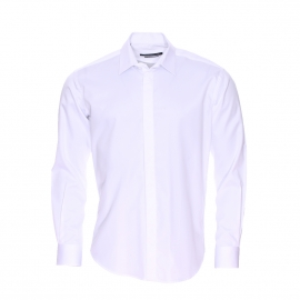Chemise cintrée Gianni Ferrucci en coton blanc à boutonnière dissimulée