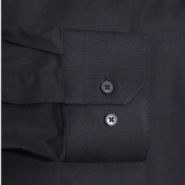 Chemise cintrée Gianni Ferrucci en coton noir à boutonnière dissimulée