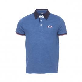 Polo Rafpol TBS en jersey de coton bleu encre à col bleu marine