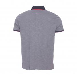 Polo Firpol TBS en jersey de coton gris à col bleu marine