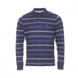 Polo manches longues Raypol TBS en coton bleu marine à rayures blanches, grises et bleu pétrole