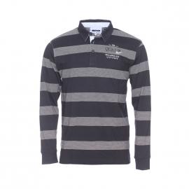 Polo manches longues Poltuf TBS en coton noir à rayures blanches