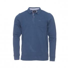 Polo Amipol TBS manches longues en maille piquée bleu crépuscule à poche